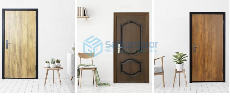 cửa thép vân gỗ 1 cánh