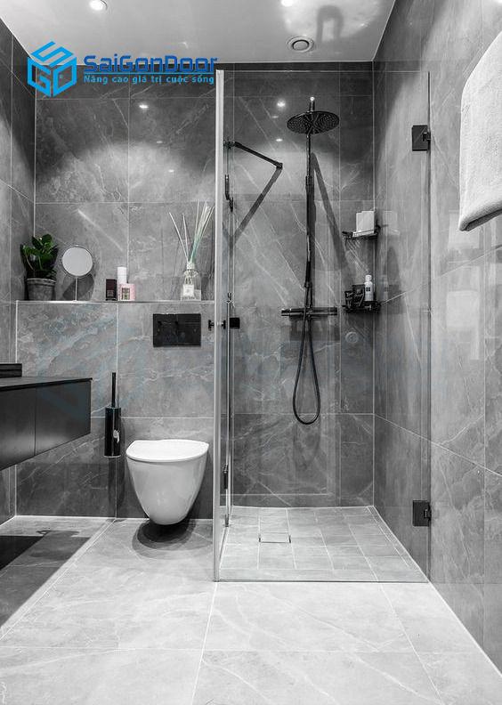 Cửa nhà tắm dùng hệ nhôm kính
