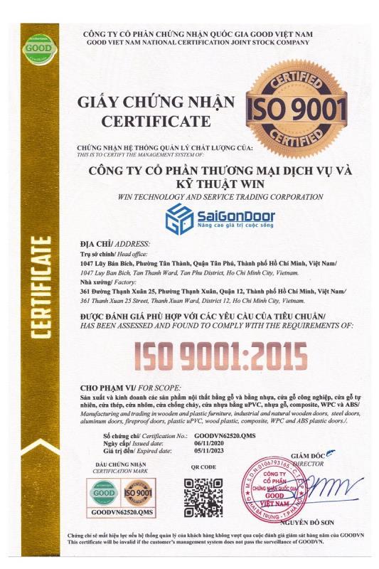 Chứng nhận quản lý chất lượng ISO 9001-2015