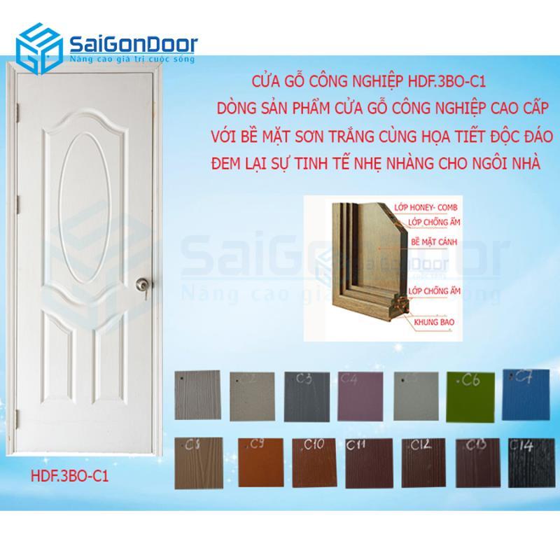 Mẫu cửa gỗ công nghiệp HDF.3BO-C1