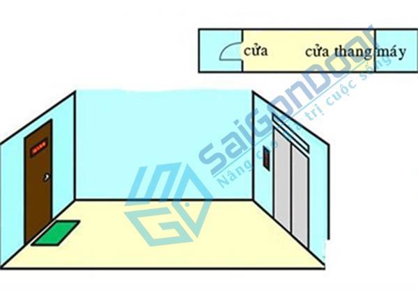Thang máy đối diện cửa chính - lỗi phong thủy cửa chính.
