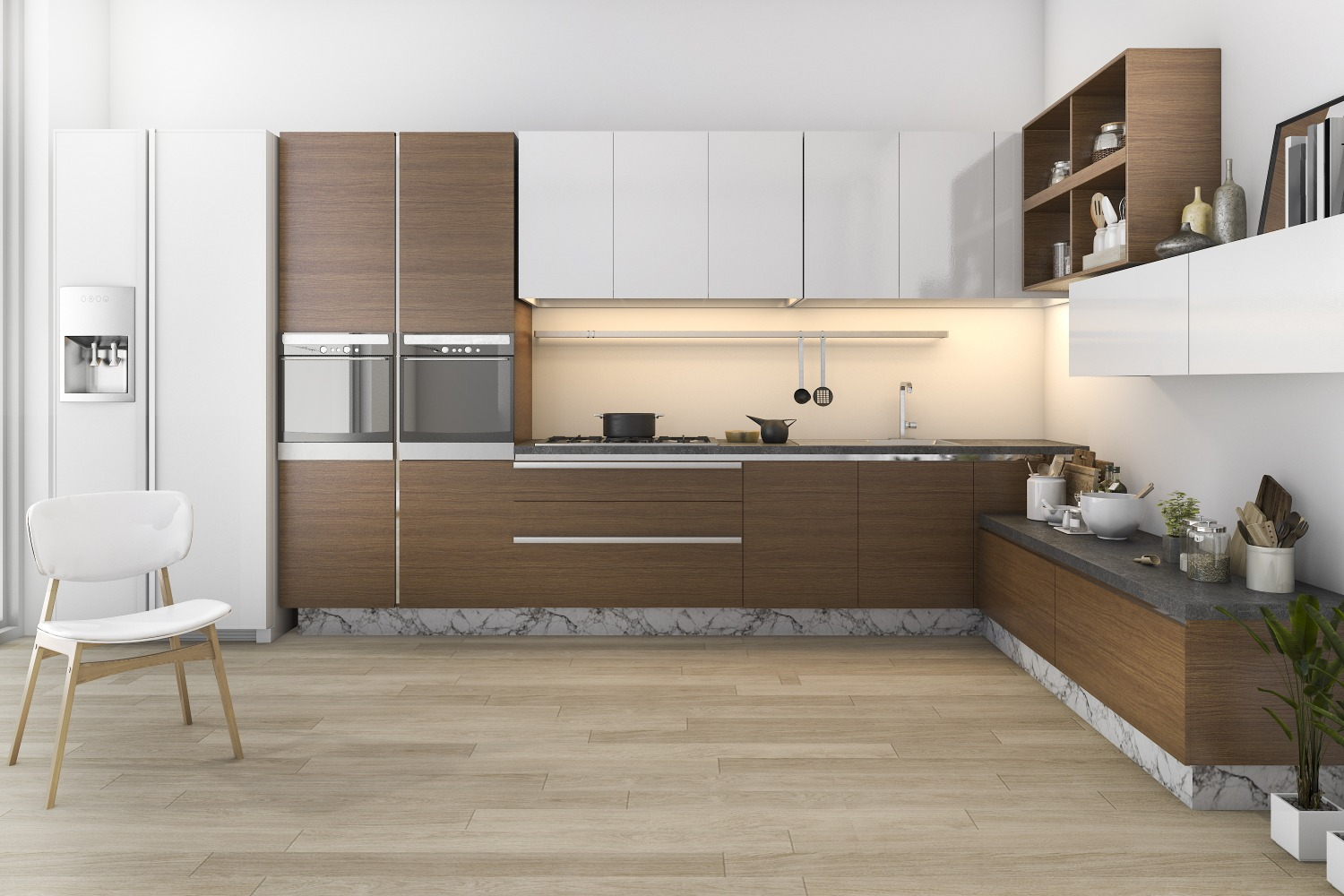 3d rendering wood loft kitchen with bar living zone