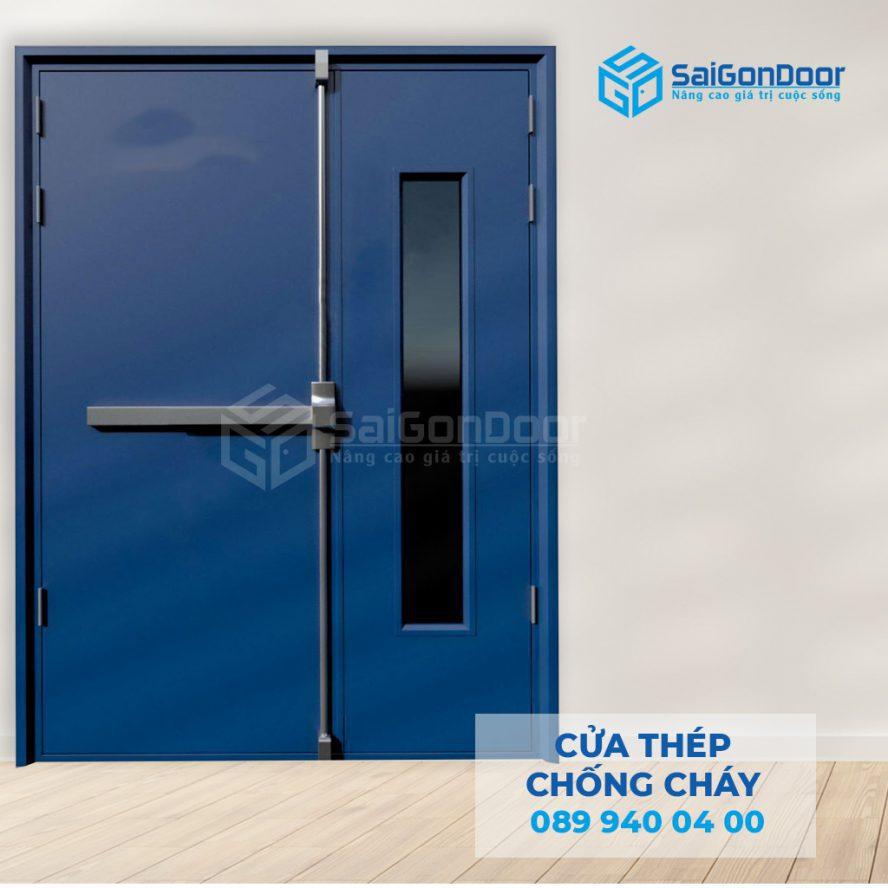 Cua thep chong chay 2P1G1 xanh duong