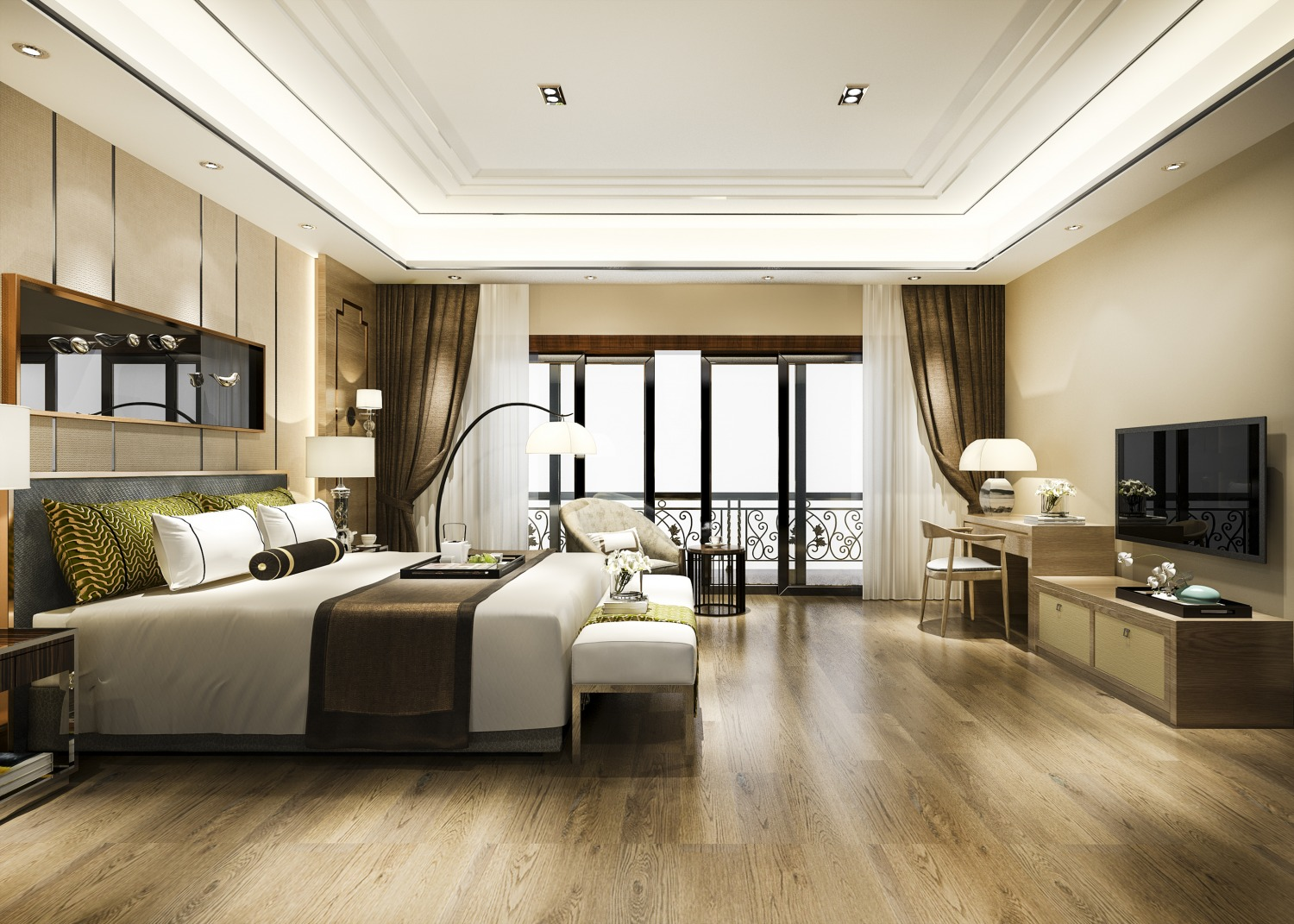 luxury bedroom suite resort high rise hotel with working table