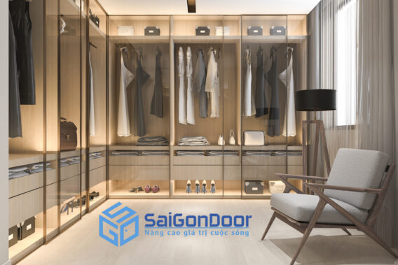 3d rendering minimal scandinavian wood walk closet with wardrobe 1