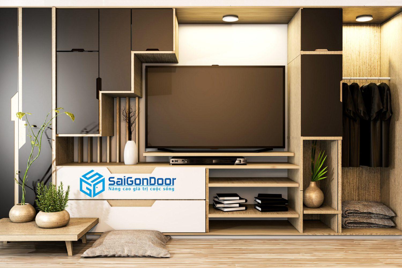 cabinet tv mix wardrobe shelf wooden japanese style decoration plants shelf 3d rendering scaled