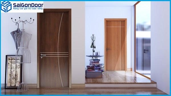 Cửa gỗ MDF Laminate Saigondoor được lắp đặt tại căn hộ chung cư cao cấp