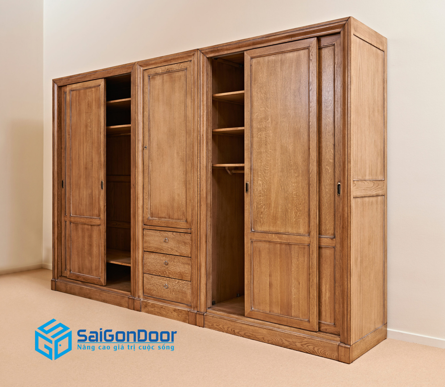 opened classical wooden wardrobe against textured wall scaled
