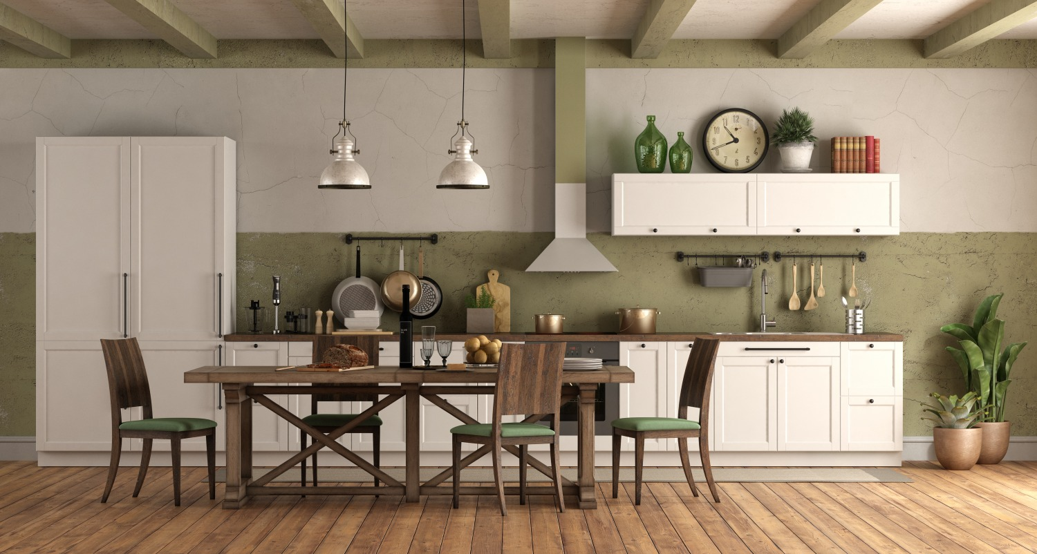 retro style kitchen with wooden dining table