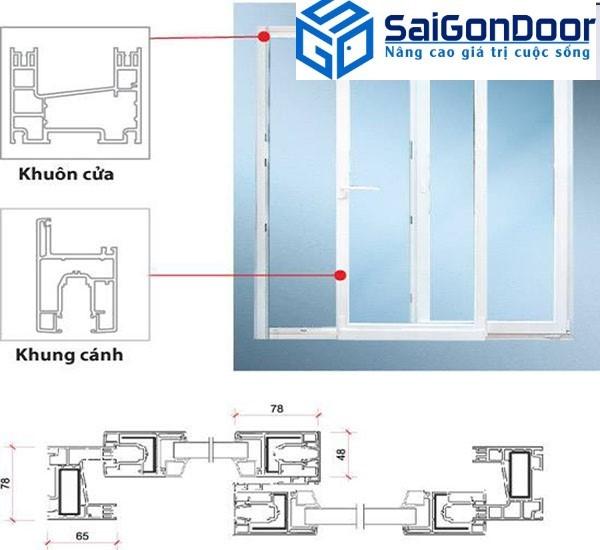 Bản vẽ thiết kế cửa đi nhựa giả gỗ 2 cánh mở lùa