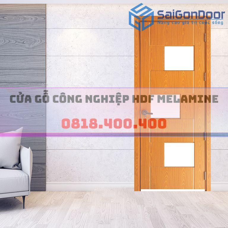 Cửa gỗ HDF Melamine fix ô kính mờ