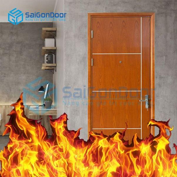 Cửa thép chống cháy vân gỗ có giá trị thẩm mỹ cao