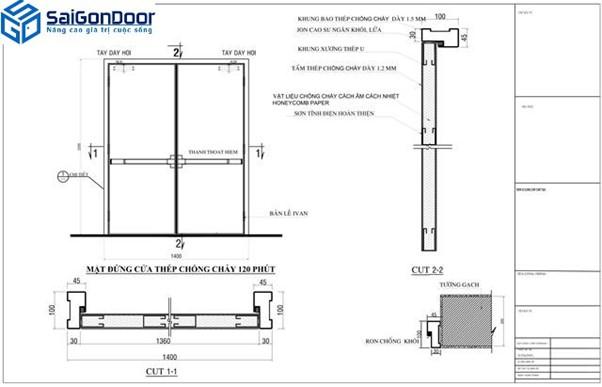 Bản vẽ thiết kế cửa chống cháy bằng thép thời lượng 120 phút
