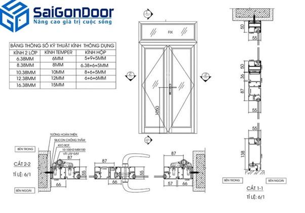 Thiết kế cửa nhựa giả gỗ 2 cánh mở quay