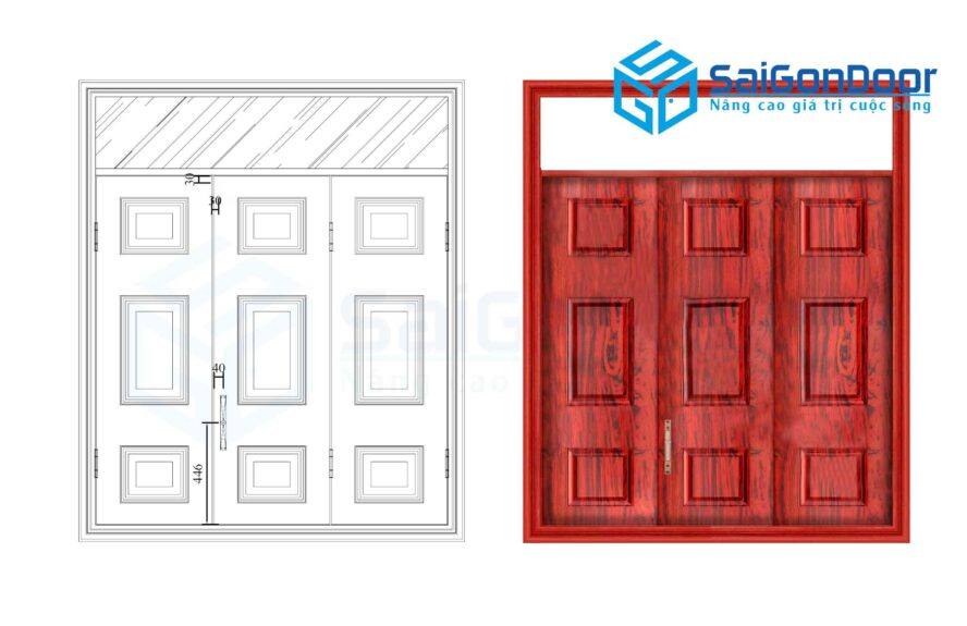 Cửa thép vân gỗ SGD CS3H11