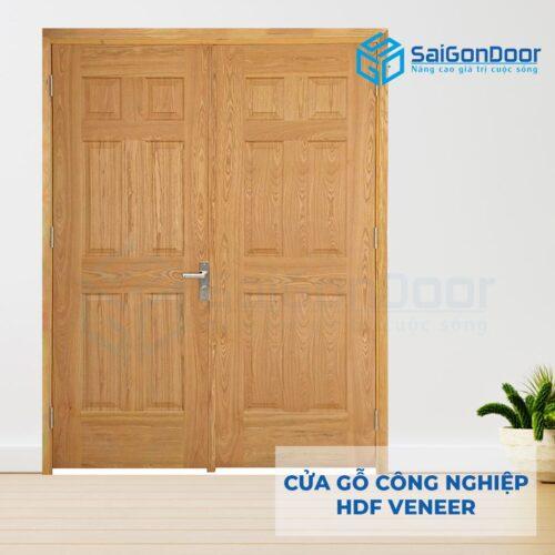 Cửa gỗ công nghiệp HDF Veneer 12A soi 2 canh