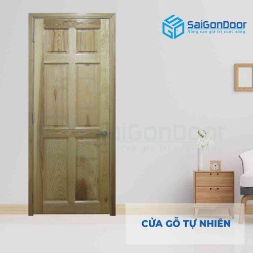 Cửa gỗ tự nhiên GTN 6A soi