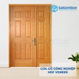 Cửa gỗ công nghiệp HDF Veneer 9A soi me bong con