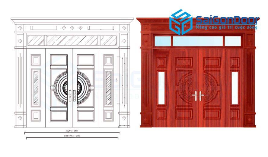 Cửa thép vân gỗ SGD GS4H15H8K