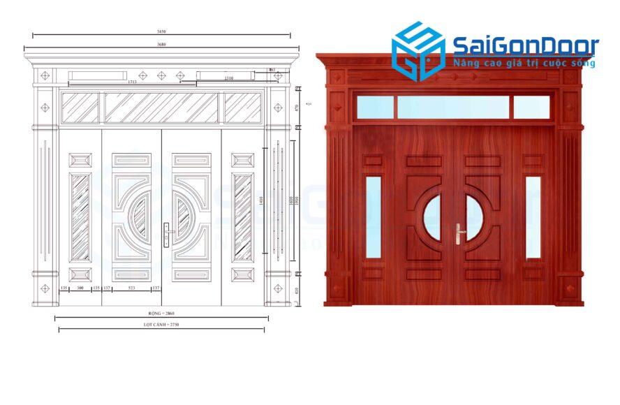 Cửa thép vân gỗ SGD GS4H4K-H4AK
