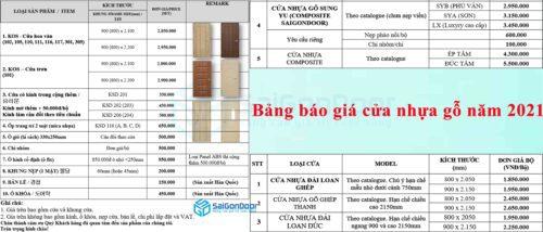 Bảng báo giá cửa cửa nhựa dùng cho phòng ngủ năm 2021